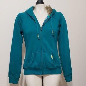 Roxy teal full zip up hoodie with faux fur hood